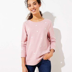 LOFT Women's NWT Heart Embroidered Sweatshirt